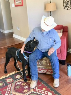 Our Mastiff pup Ripley is going to ride the trails with her Cowboy Dad